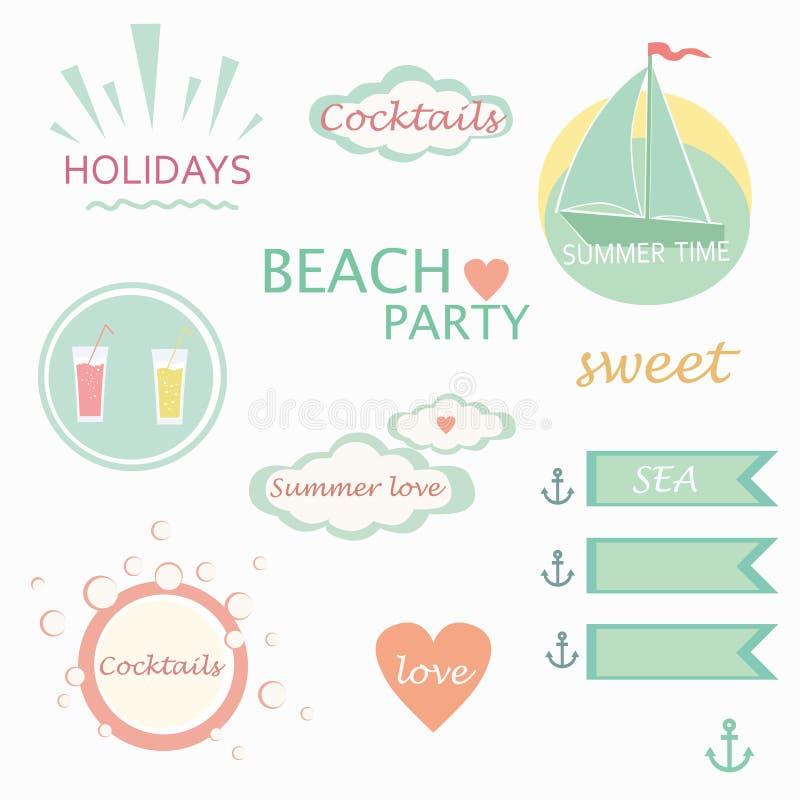 Cute elements, labels, logos, summer holiday vector vector illustration
