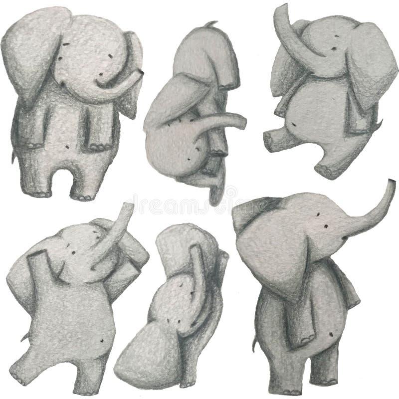 Cute elepants set royalty free stock photography
