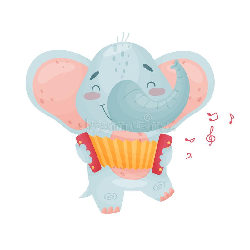 Cute elephant with a accordion. Vector illustration on white background. Cute humanized elephant playing the accordion. Vector illustration on white background vector illustration