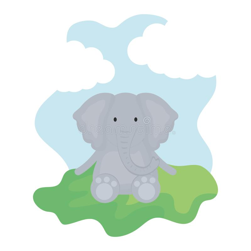 Cute elephant in the camp childish character. Vector illustration design vector illustration