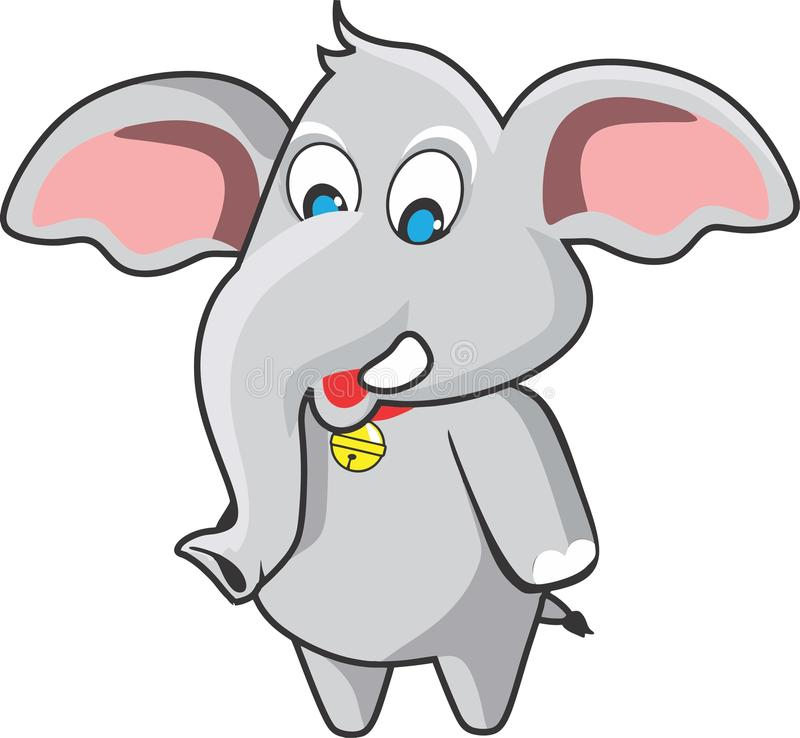 Cute elephant. Cartoon characters for comic book colouring book etc vector illustration