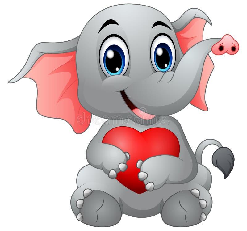 Cute Elephant Cartoon Hugging A Heart Stock Vector ...