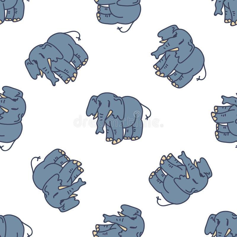 Cute Elephant Cartoon Seamless Vector Mönster Hand Drawn African Animal Tile All over Print for Wildlife blogg, Safari royaltyfri illustrationer