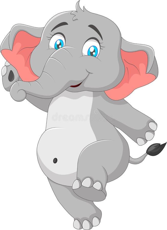 Cute elephant cartoon waving hand royalty free illustration