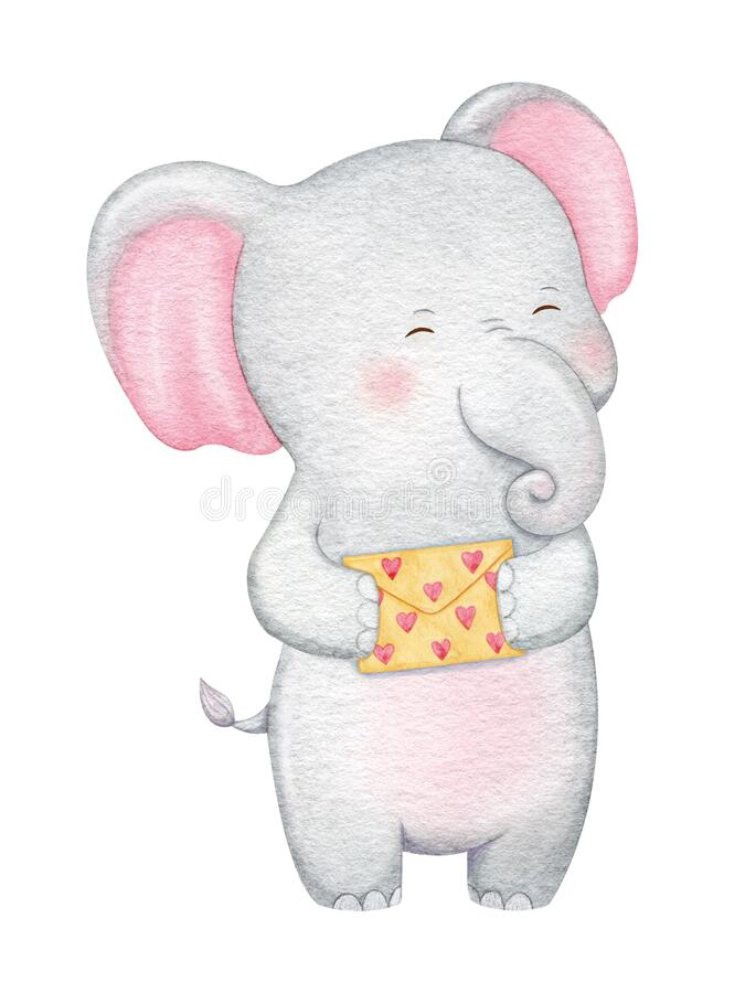 Cute elephant character in love. Hand painted watercolor illustration stock image