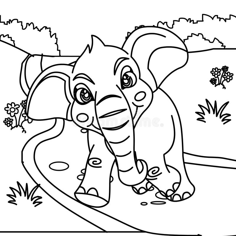 Cute elephant coloring page stock illustration