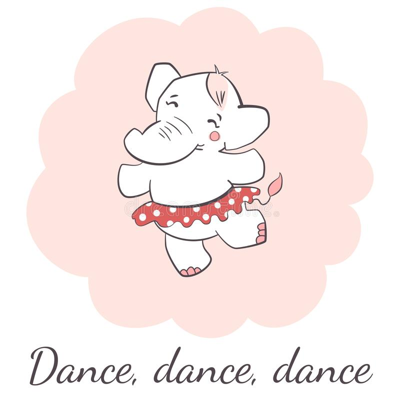 Cute elephant dancing isolated vector illustration. royalty free illustration