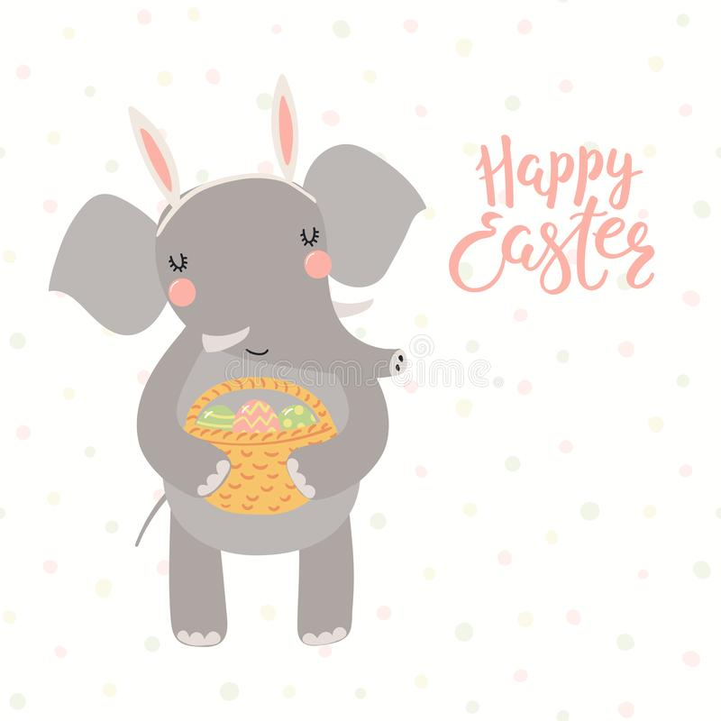 Cute elephant Easter card vector illustration