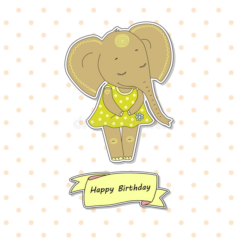 Cute elephant girl standing with flower. Funny vector illustration on white background with pink peas. Lovely crafted design for postcards and prints. Ribbon vector illustration