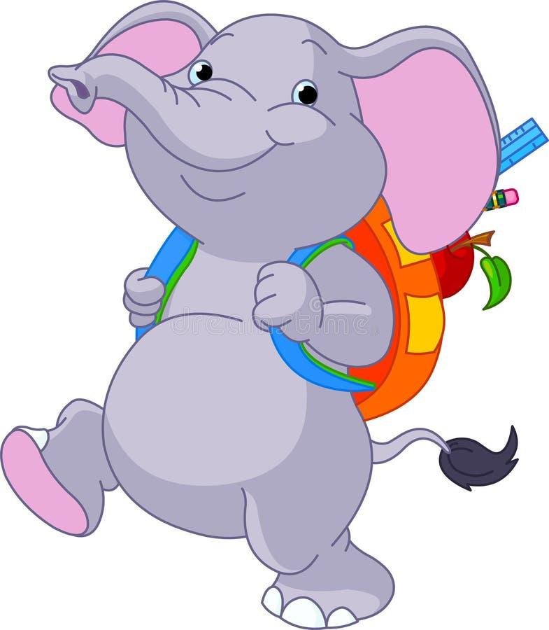 Cute elephant go to school vector illustration