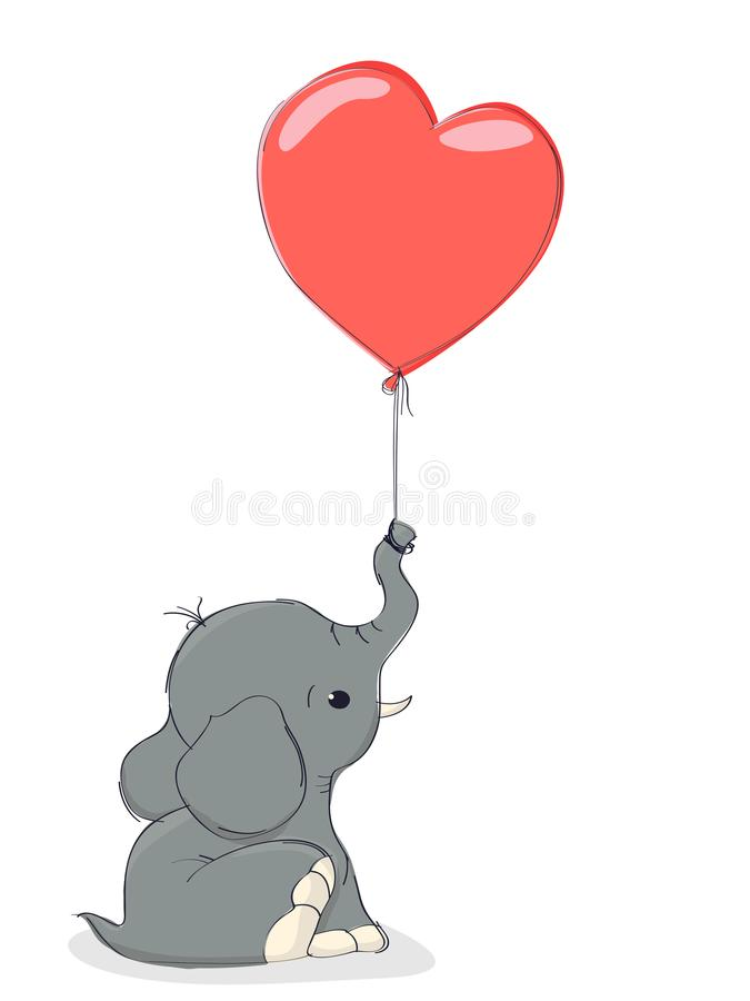 elephant and balloon stock vector illustration of drawn