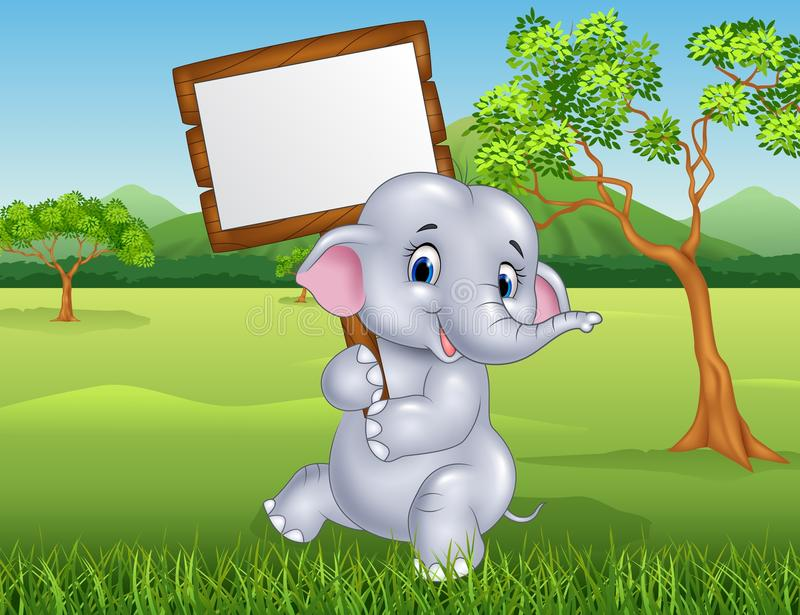 Cute elephant holding blank sign in the jungle royalty free illustration