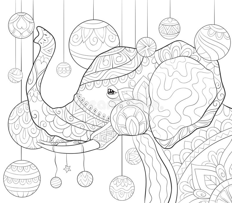 Adult coloring book,page a cute elephant image for relaxing activity.Zen art style illustration for print. A cute elephant image with zen ornaments with stock illustration