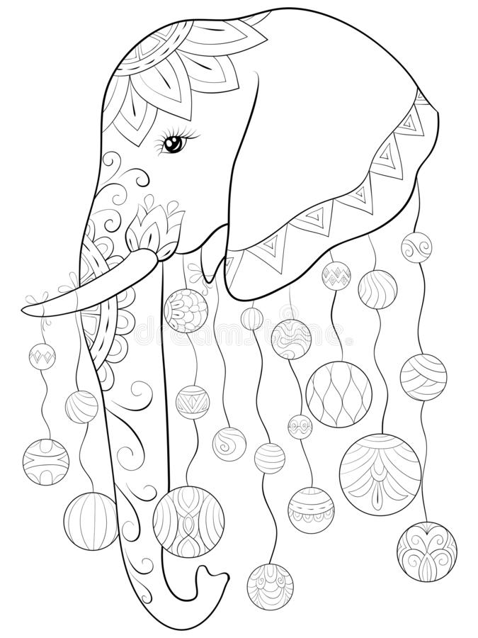 Adult coloring book,page a cute elephant image for relaxing activity.Zen art style illustration for print. A cute elephant image with zen ornaments with royalty free illustration