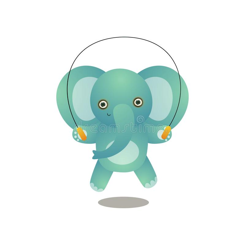 Cute elephant kid jumping with jump rope in school royalty free illustration