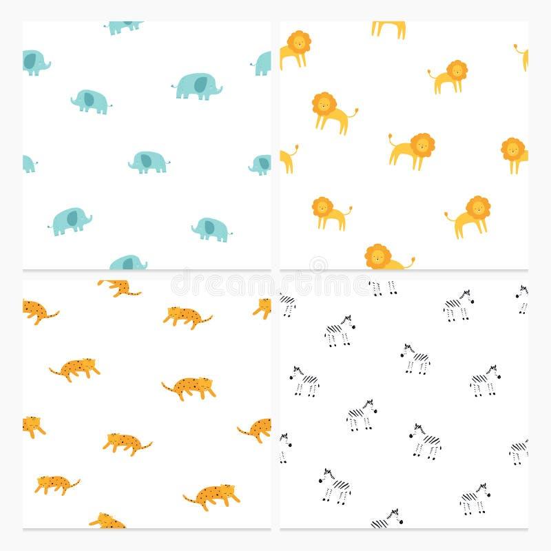 Cute elephant, lion, leopard, zebra set of seamless patterns. Vector hand drawn illustration. Nursery background for stock illustration