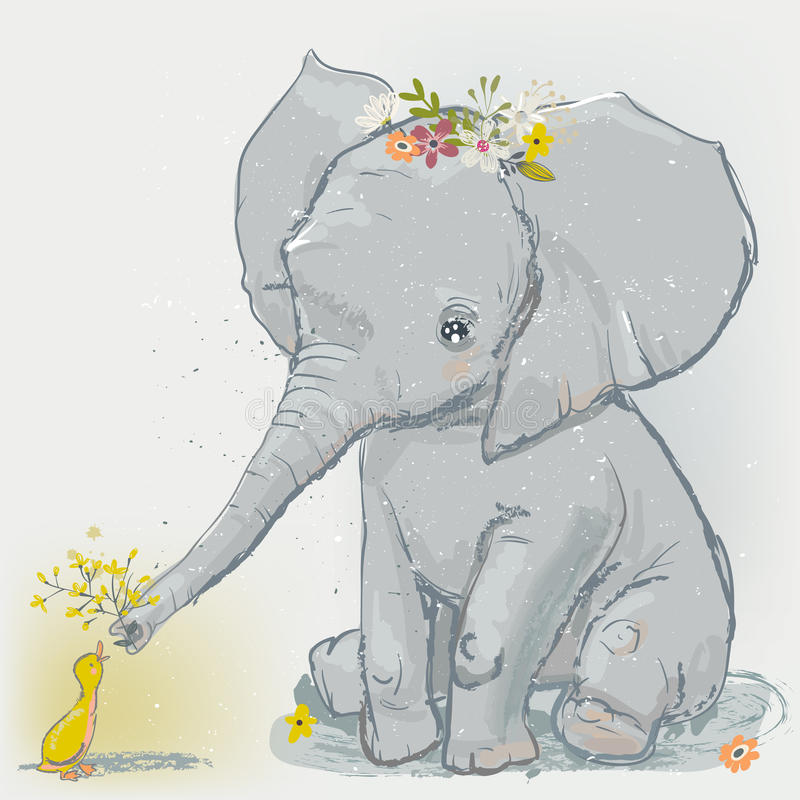 Cute elephant with little duck. Vector illustration royalty free illustration