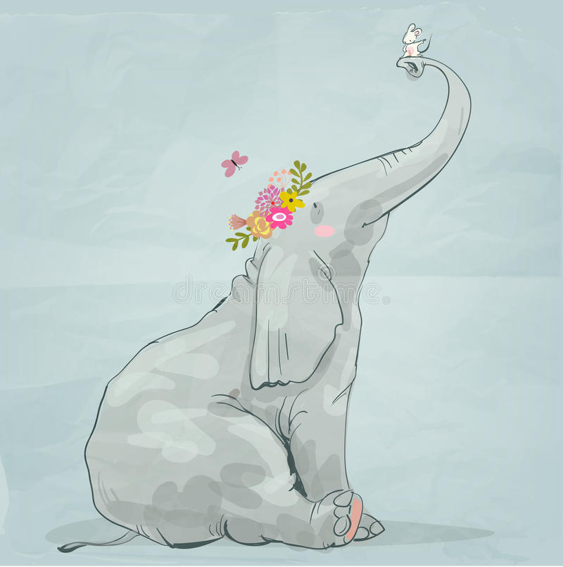 Cute elephant with little mouse stock illustration