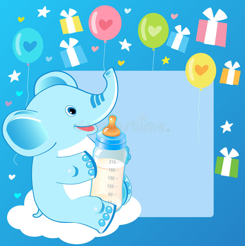 Cute elephant with milk bottle. Welcome baby boy card. stock illustration