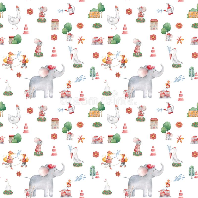 Cute elephant pattern. Seamless background with pink elephant cartoon character. Minimal baby or children print design Trend color. Cute elephant pattern royalty free stock photos