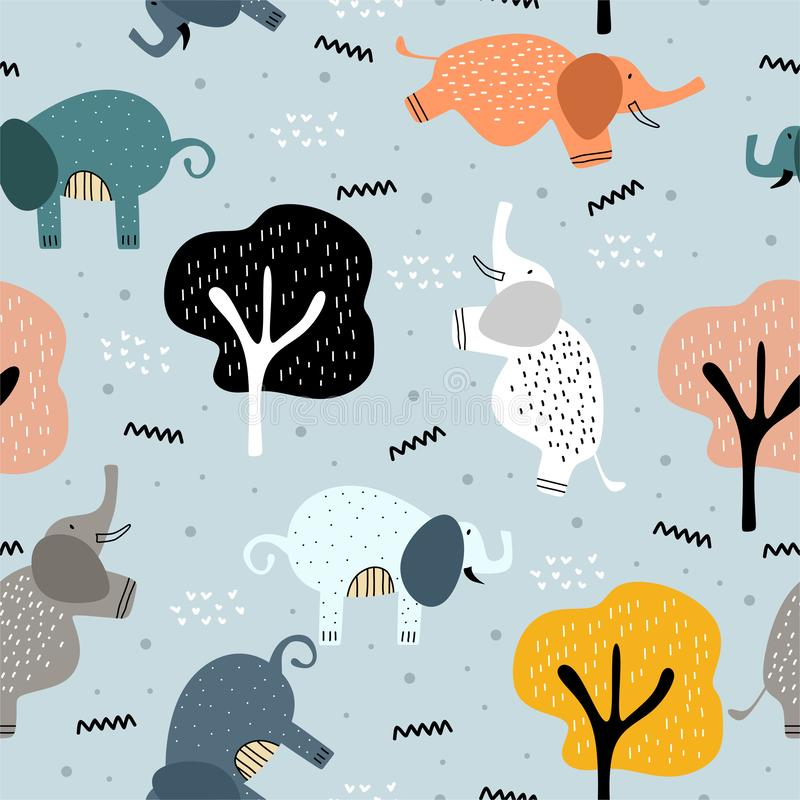 Cute elephant pattern with seamless scandinavian drawing colorful objects. Childish hand drawn pastel colors background vector vector illustration