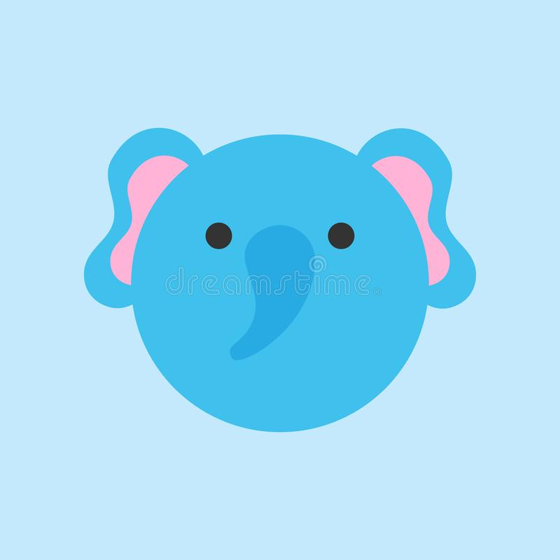 Cute elephant round vector icon vector illustration