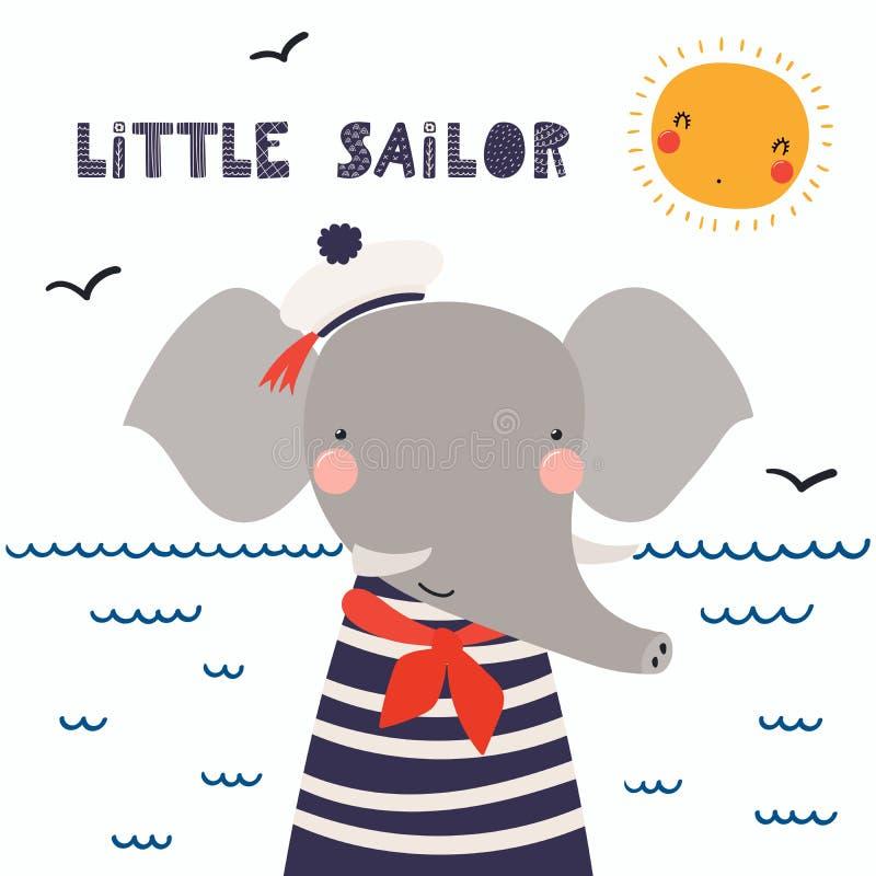Cute elephant sailor stock illustration