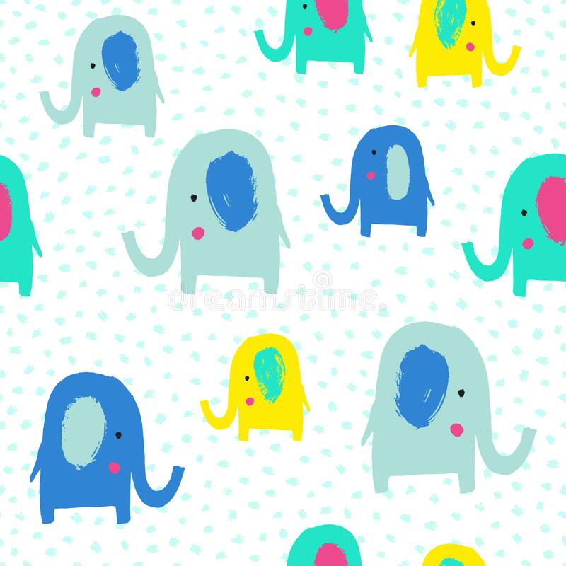 Free Cute Elephant Seamless Pattern. Vector Illustration. Royalty Free Stock Photo - 193225175