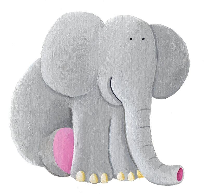 Cute elephant sitting vector illustration