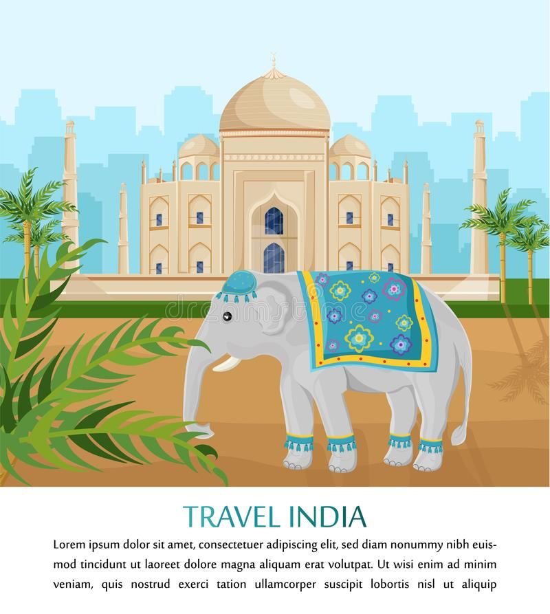 Cute Elephant symbol of India country Vector. Taj Mahal on backgrounds royalty free illustration
