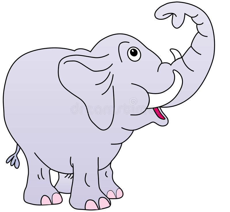 Download Cute elephant, trunk up, stock illustration. Image of amusing - 8338721