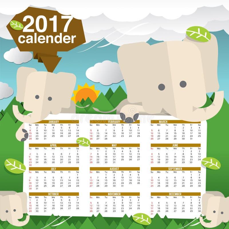 Cute Elephants 2017 Calendar Starts Sunday. stock illustration