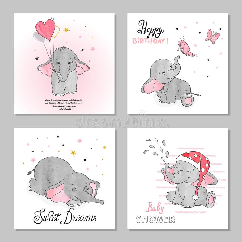 Cute Elephants vector illustrations. Set of birthday greeting cards. Posters, prints royalty free illustration