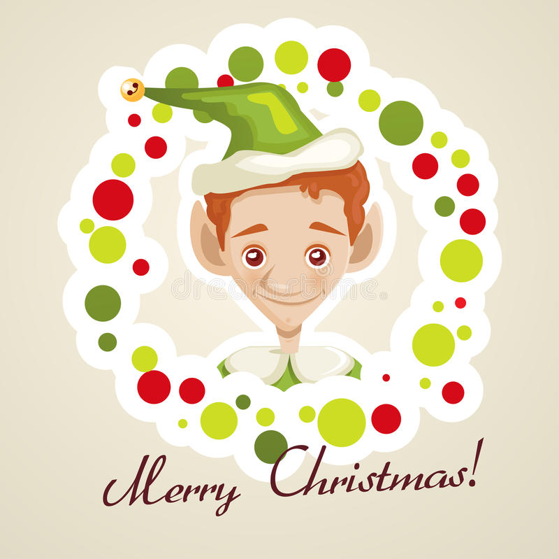 Download Cute elf christmas card stock vector. Image of background - 27911499