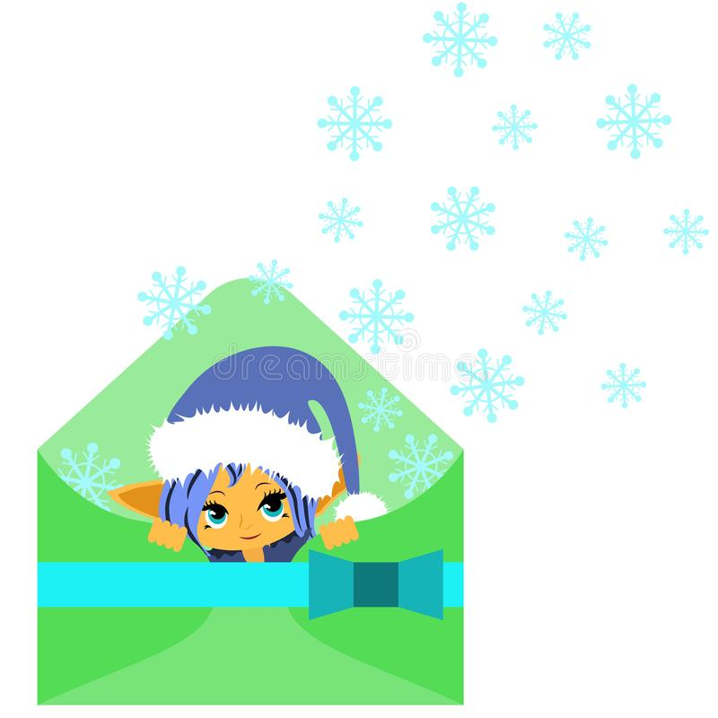 Cute elf with santa cap looks out of the envelope on white background vector illustration