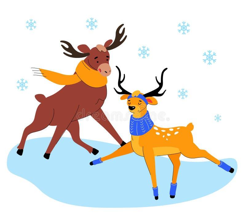 Cute elk and deer on ice - flat design style illustration vector illustration
