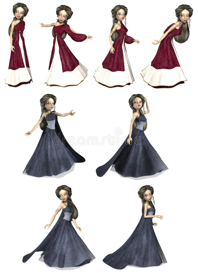 Elven Princess. A cute elven princess striking poses royalty free illustration