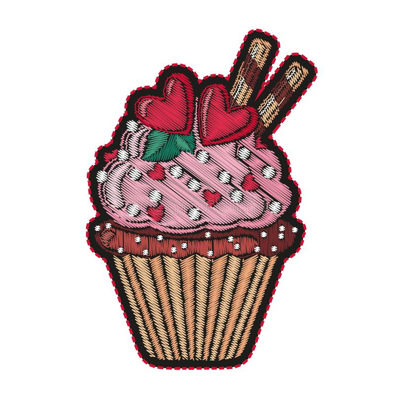 Cute embroidered cupcake for fashion design. royalty free illustration
