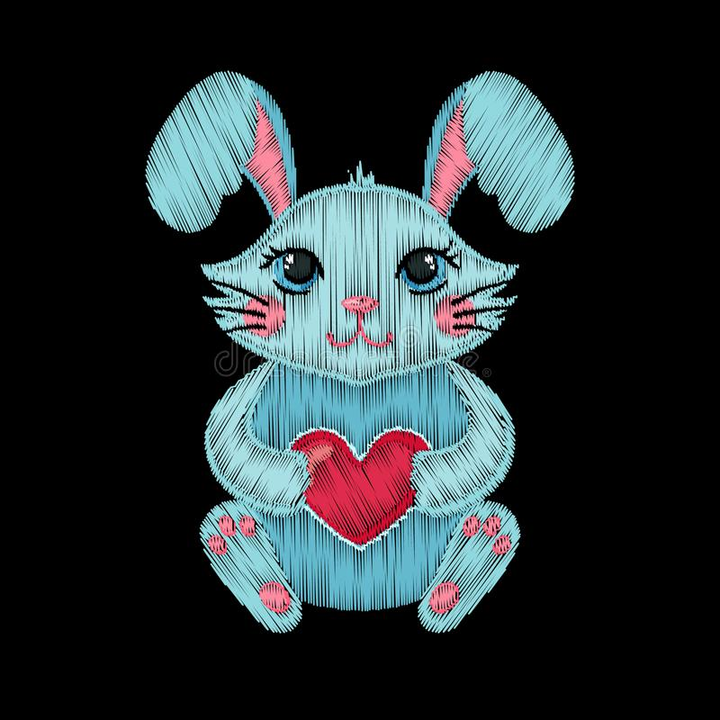 Cute embroidered rabbit with heart for kids fashion design. royalty free illustration