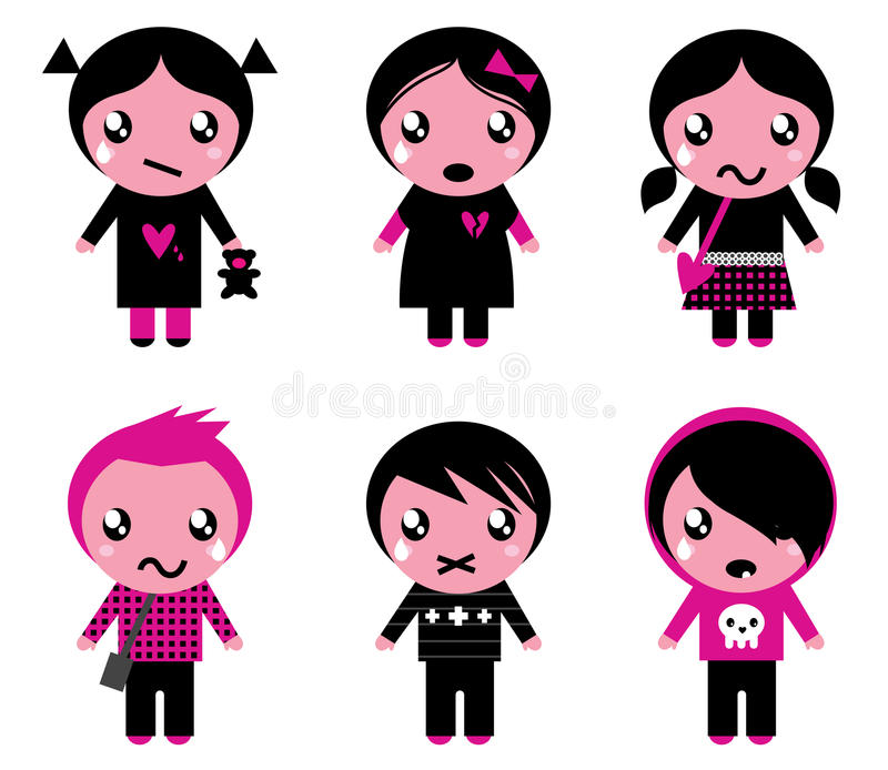 Cute emo kids collection royalty free illustration