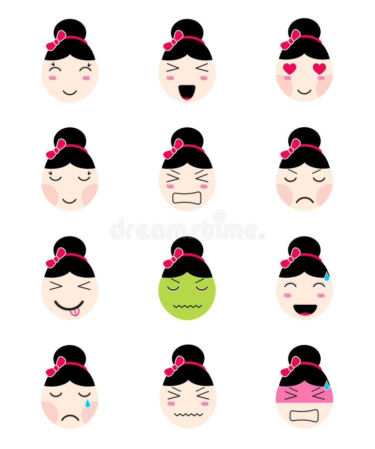 Cute emoji collection. Kawaii asian girl face different moods stock illustration