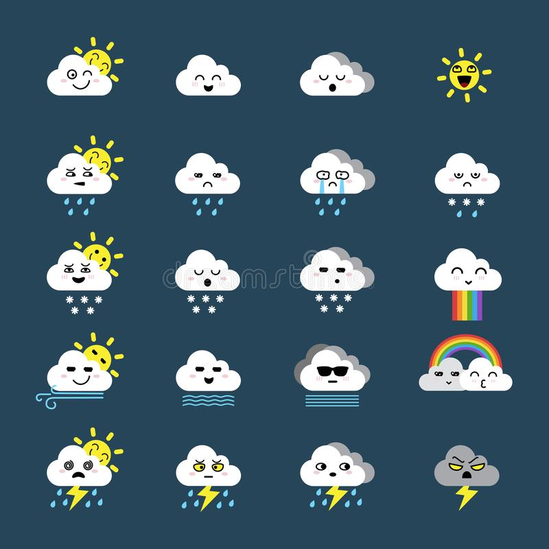 Cute emoticon icon of cloud icon, weather icons set stock illustration