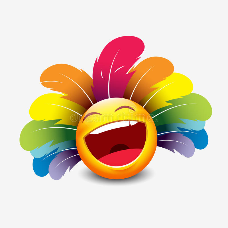 Cute emoticon isolated on white background with carnival headdress motive - smiley - vector illustration royalty free illustration