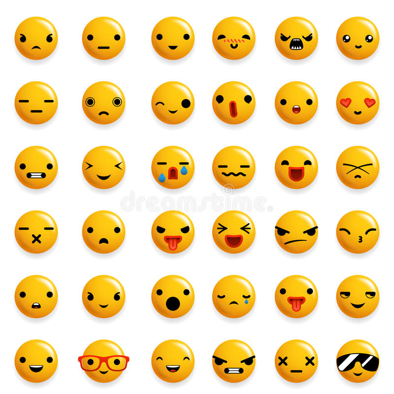 Cute Emoticon Smile Emoji Icons Set Isolated 3d Realistic Design Vector Illustration. Cute Emoticon Smile Emoji Icons Set Isolated Realistic Design Vector royalty free illustration