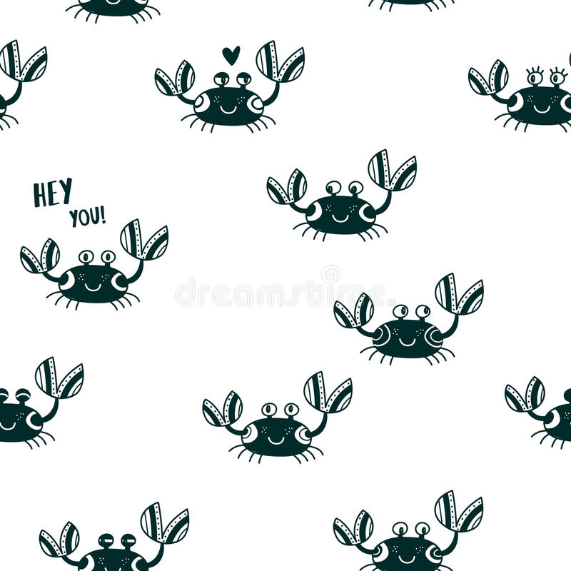 Cute emotional crabs seamless pattern black vector illustration