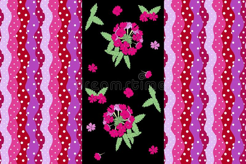 Cute endless pattern with flower verbena and bright striped border with wave and polka dot stock illustration