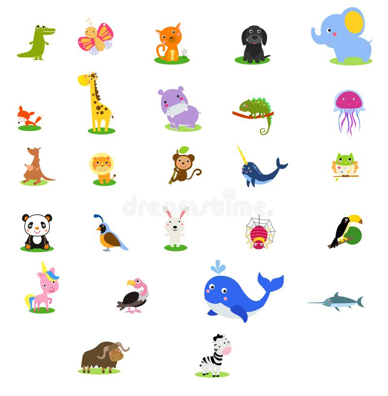 Cute English illustrated zoo alphabet with cute cartoon animal. Icons royalty free illustration
