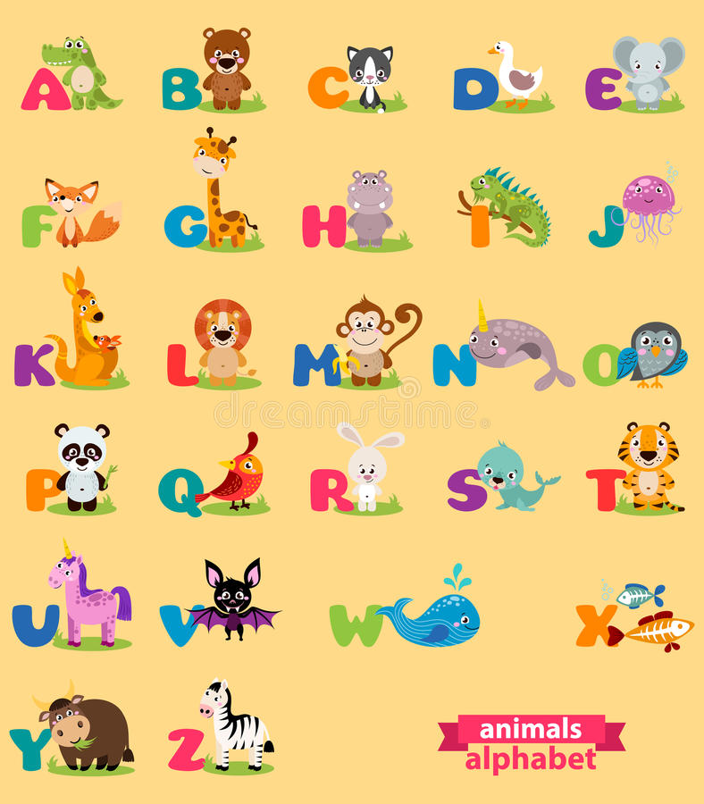 Cute english illustrated zoo alphabet with cute cartoon animal. Vector illustration for kids education, foreign language study stock illustration