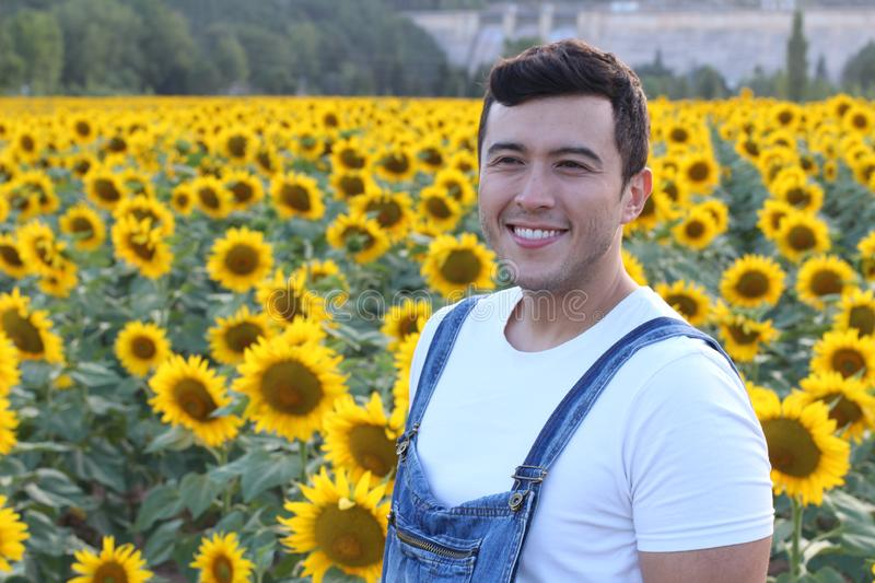 Cute ethnic farmer in sunflower field royalty free stock images
