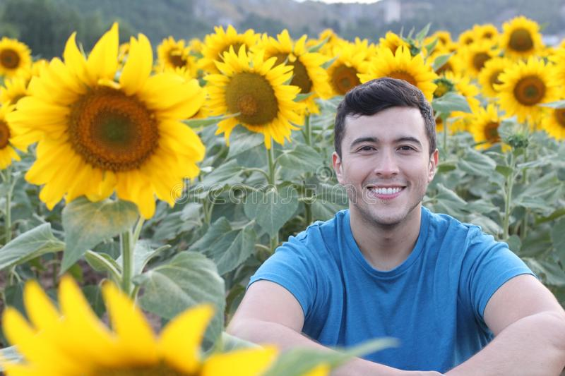 Cute ethnic man in sunflower field royalty free stock image